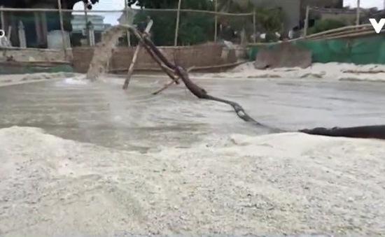 Quảng Ngãi: Người dân hút cát giữa biển để trồng hành tỏi