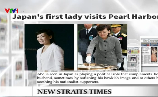 Đệ nhất phu nhân Nhật Bản lần đầu viếng thăm Trân Châu Cảng