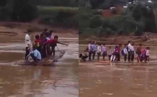 Clip qua sông đi học ở Yên Bái gây sốt trên Facebook