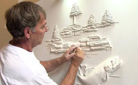 Độc đáo nghệ thuật đắp phù điêu trên tường