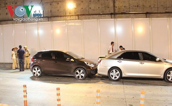 3 ô tô đâm liên hoàn trong hầm Thủ Thiêm (TP.HCM)