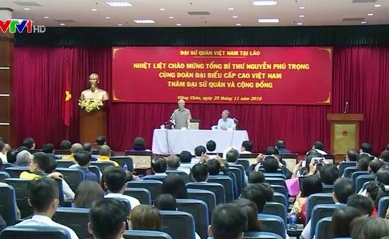 Tổng Bí thư Nguyễn Phú Trọng gặp gỡ Kiều bào tại Lào