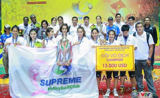 KT, VTV Cup 2016 – Tôn Hoa Sen ngày 15/10: CLB Chonburi vô địch & Lễ trao giải