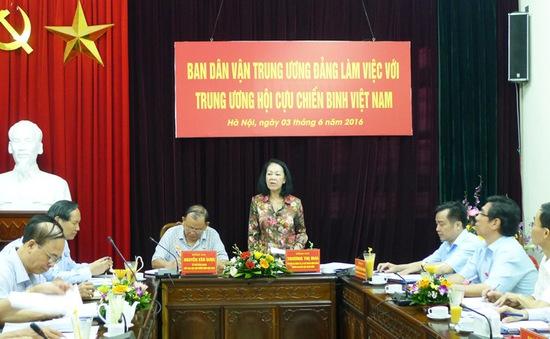 Đồng chí Trương Thị Mai làm việc với Trung ương Hội Cựu chiến binh Việt Nam