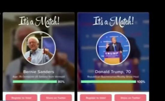 Lựa chọn ứng viên Tổng thống Mỹ yêu thích trên ứng dụng Tinder