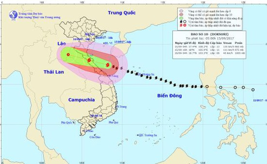 16h hôm nay (15/9), bão số 10 sẽ ở trên đất liền các tỉnh từ Nghệ An đến Quảng Trị