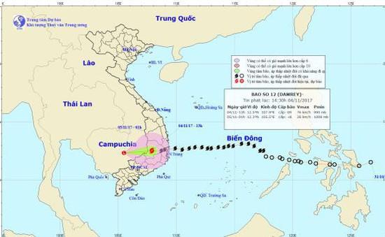 Tâm bão số 12 đã ở trên khu vực Nam Tây Nguyên
