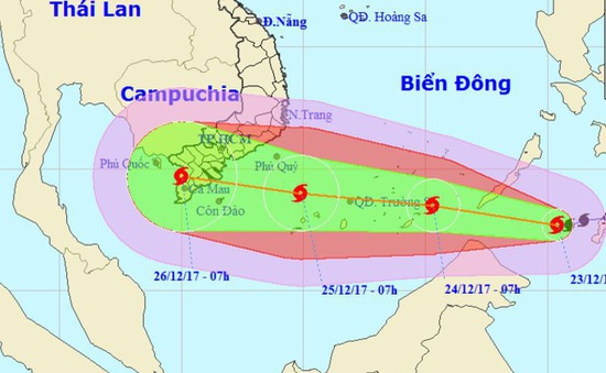 Bão Tembin dự báo đêm nay vào biển Đông