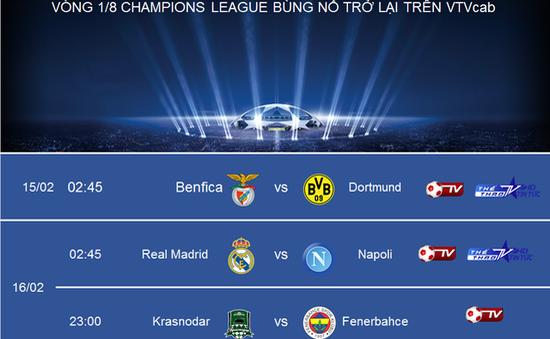 Lịch trực tiếp vòng 1/8 Champions League 2016/17 trên VTVcab: Bùng nổ đại chiến các ông lớn