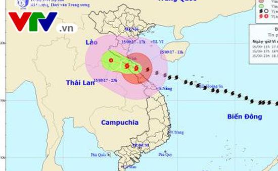 Tâm bão số 10 đã dịch sang khu vực Trung Lào