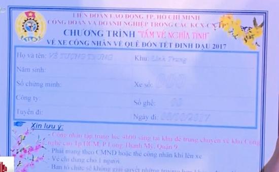 """TP.HCM trao """"Tấm vé nghĩa tình"""" cho công nhân nghèo về quê đón Tết"""