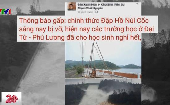 Thông tin vỡ đập hồ Núi Cốc ở Thái Nguyên là bịa đặt