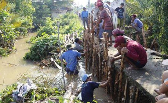 Khẩn trương gia cố đê bao bị vỡ tại Vĩnh Long