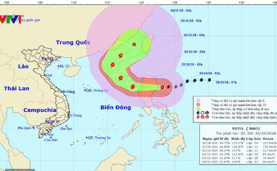 Bão Yutu giật cấp 16, gây mưa ở Đông Bắc Biển Đông