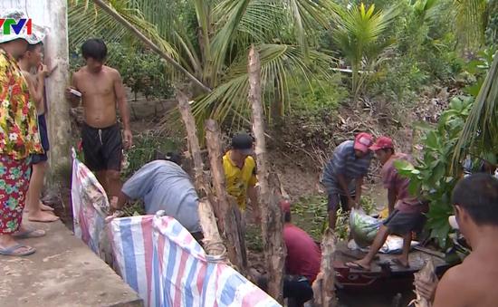 Vỡ đê bao ở các xã cù lao Vĩnh Long, nhiều nhà dân chìm trong nước