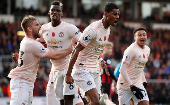 Bournemouth 1-2 Man Utd: Thần tài Rashford ghi bàn thắng vàng
