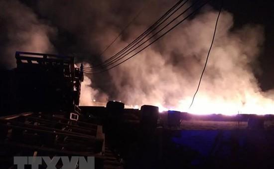 Cháy nhà xưởng sản xuất tăm hương tại Thanh Hóa, 700m2 nhà xưởng và nguyên liệu bị thiêu rụi