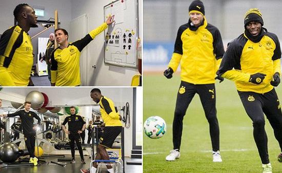 """""""Tia chớp đen"""" Usain Bolt tập luyện chăm chỉ tại Dortmund"""