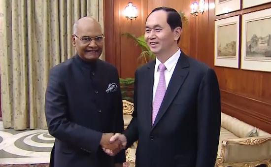 Chủ tịch nước Trần Đại Quang hội kiến Tổng thống Ấn Độ