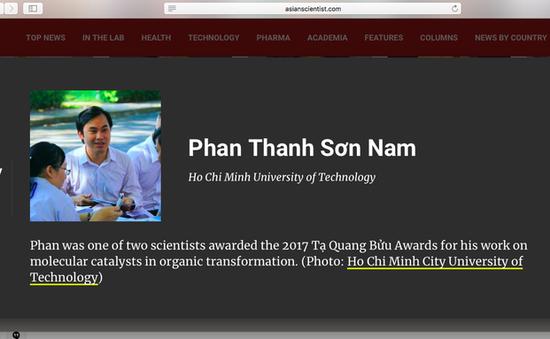 Asian Scientist vinh danh hai tiến sĩ Việt Nam