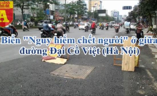 """""""Nguy hiểm chết người"""" ở đường Đại Cồ Việt: Chỉ một trận mưa, đường vừa sửa đã hỏng"""