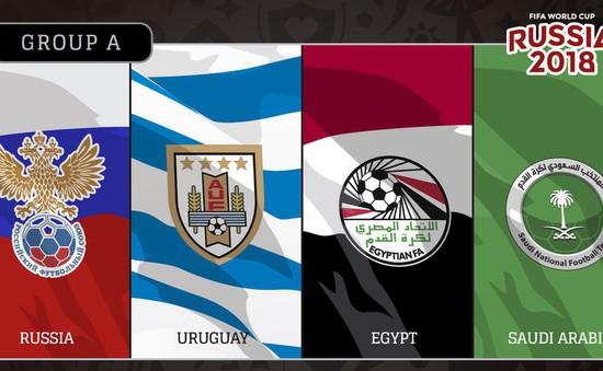 Bảng A World Cup 2018: Uruguay mạnh nhất, Nga, Ai Cập và Ả Rập Xê Út cạnh tranh tấm vé còn lại