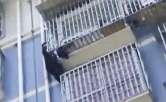 """""""Người nhện"""" leo 5 tầng cứu bé trai treo lơ lửng trên tầng 5 tòa nhà"""