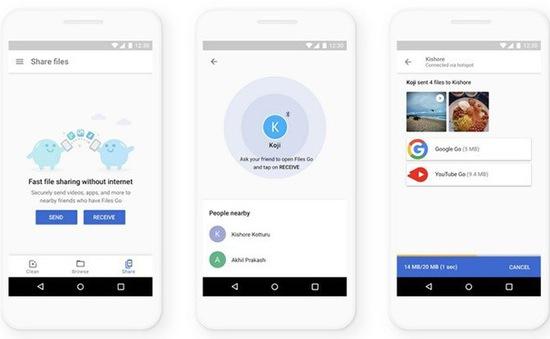 Google tăng tốc độ chia sẻ dữ liệu nhanh gấp 4 lần trong Files Go