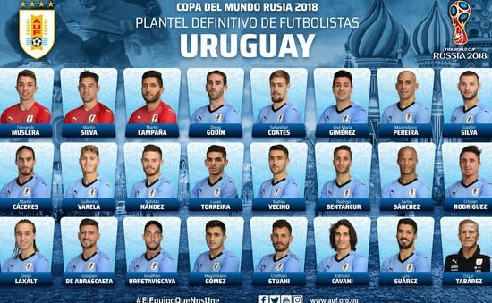 ĐT Uruguay chốt danh sách 23 cầu thủ dự World Cup 2018