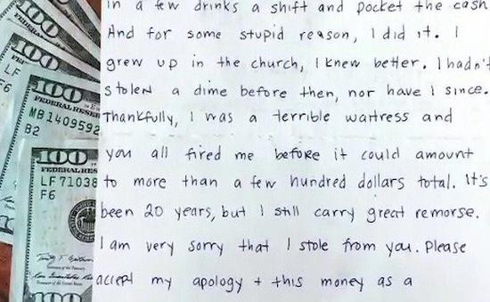 Nữ bồi bàn ăn cắp 1.000 USD từ chủ, 20 năm sau day dứt đem trả