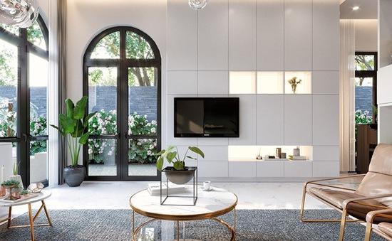 Thiết kế kệ tivi cho không gian nhà sang trọng, phong cách