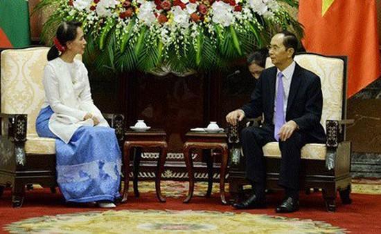 Chủ tịch nước Trần Đại Quang tiếp Cố vấn Nhà nước Myanmar