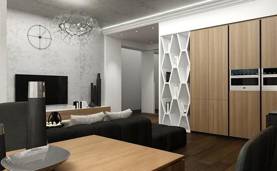 Căn hộ phong cách với màu đen, trắng và nâu gỗ