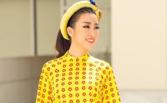"""Hoa hậu Mỹ Linh đẹp """"chói lóa"""" trong trang phục áo dài"""