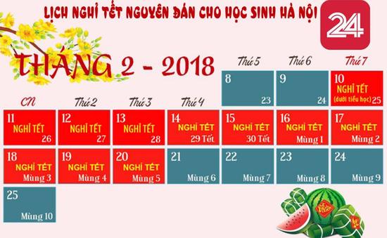 Hà Nội: Học sinh được nghỉ Tết Nguyên đán 11 ngày