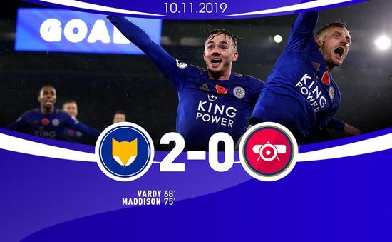 """Leicester City 2-0 Arsenal: """"Pháo thủ"""" văng khỏi top 4, Leicester vươn lên vị trí thứ 2 Ngoại hạng Anh"""