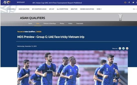 """Trang chủ AFC: """"Khó khăn đang chờ đợi ĐT UAE tại Mỹ Đình"""""""