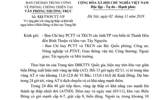 Các tỉnh/TP ven biển từ Thanh Hoá đến Bình Thuận và Tây Nguyên chủ động ứng phó với áp thấp