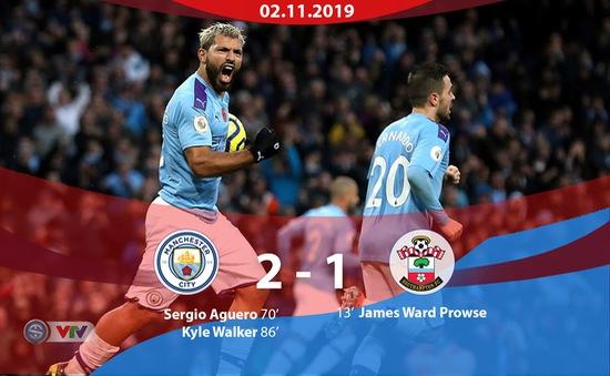Man City 2-1 Southampton: Ngược dòng thắng kịch tính, Man City tiếp tục bám đuổi Liverpool