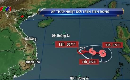 Áp thấp nhiệt đới trên Biển Đông gây mưa giông, khả năng mạnh lên thành bão