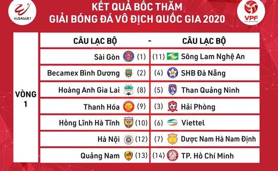Kết quả bốc thăm vòng 1 V.League, Hạng Nhất và vòng loại Cúp Quốc gia 2020