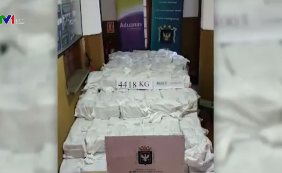 Uruguay thu giữ lượng cocaine kỷ lục