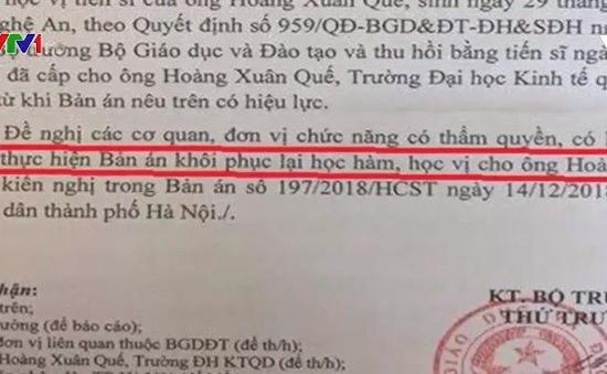 Bộ GD-ĐT khôi phục học hàm, học vị đã tước của ông Hoàng Xuân Quế