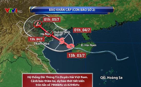 Sáng mai (4/7), bão số 2 giật cấp 10 đi vào đất liền Quảng Ninh - Ninh Bình