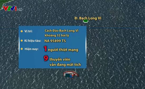 Nỗ lực tìm kiếm 9 thuyền viên mất tích trên biển Hải Phòng