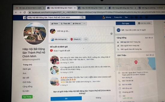 Làm giả Facebook Hiệp hội Bất động sản TP.HCM để bán đất
