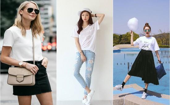 Cách phối áo phông trắng không bao giờ lỗi mốt