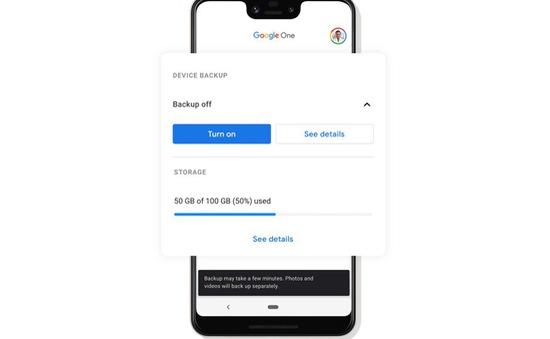 Google One thêm tính năng sao lưu tự động trên thiết bị Android