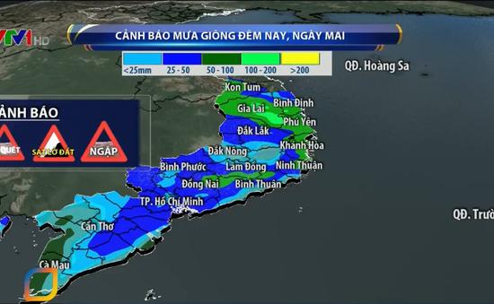 Tiếp tục có mưa trên diện rộng ở khu vực phía Nam