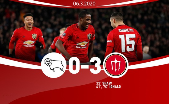 Derby County 0-3 Manchester United: Thắng đậm, Man Utd gặp Norwich tại tứ kết Cúp FA